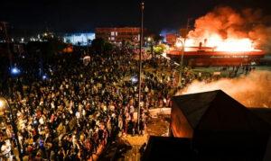 minneapolis police dept on fire - george floyd